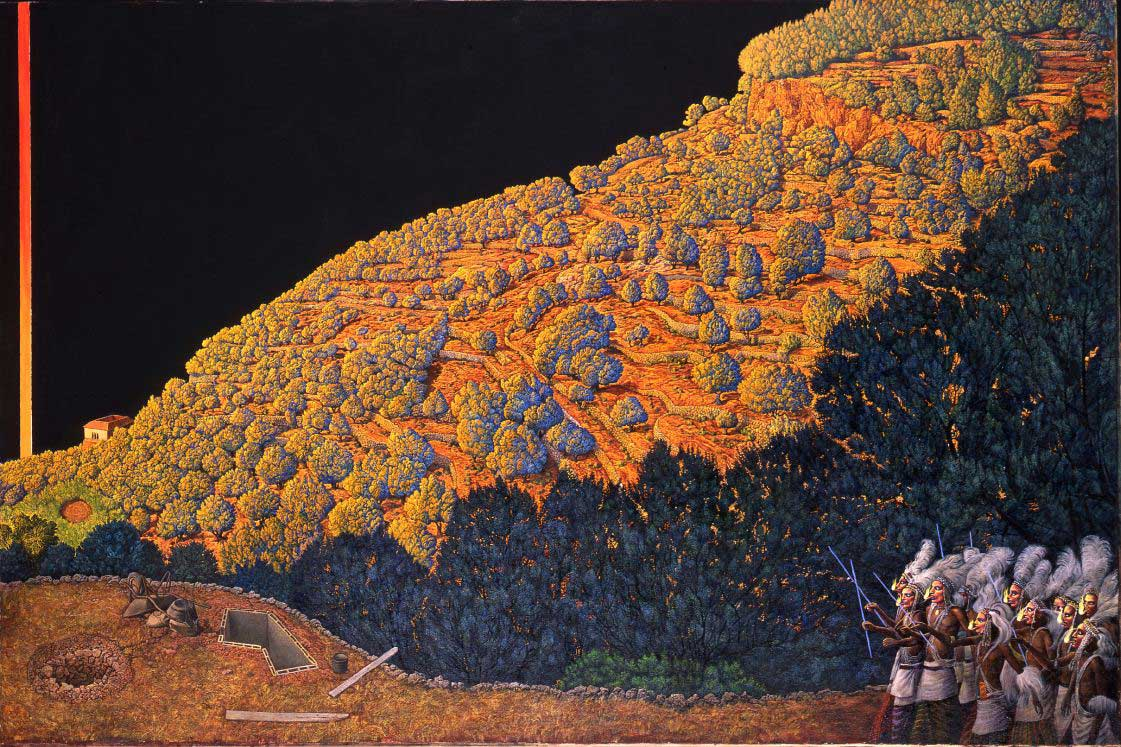<p><em>Mische</em>&nbsp;Technique&nbsp;(layers of oil and tempera on primed canvas)</p>
