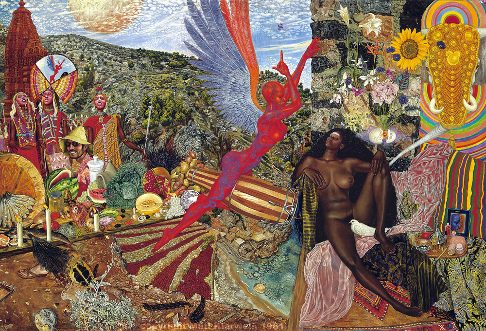 Abraxas album cover - Annunciation by Mati Klarwein