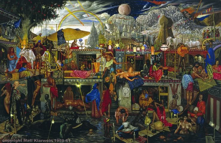 Flight to Egypt (Benares) - visionary art by Mati Klarwein - 1959 - 1961