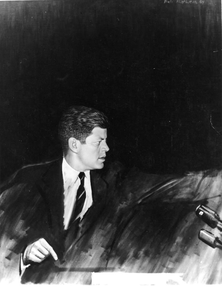 John F. Kennedy with microphones