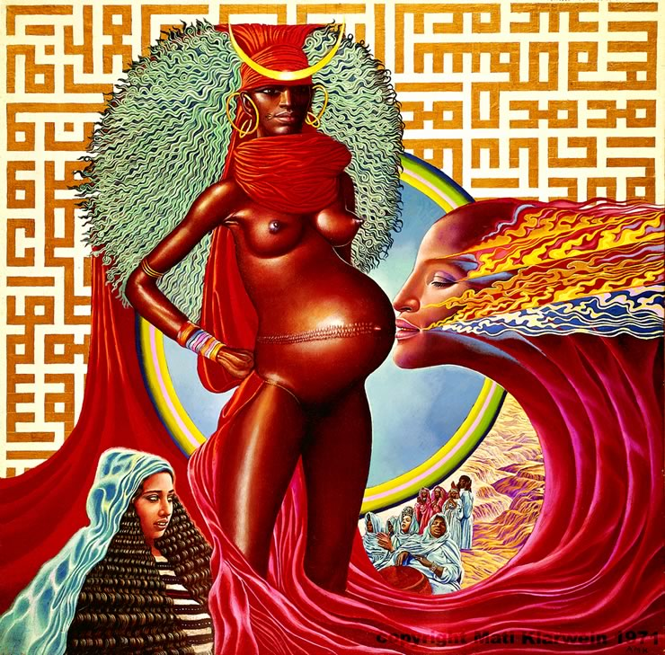 Live by Mati Klarwein (1971); record album cover art - cover of Live Evil by Miles Davis