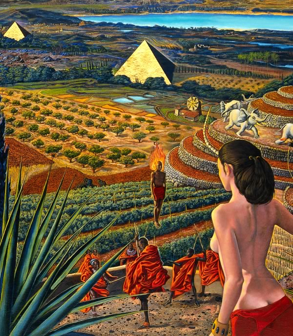 surreal landscapes by Mati Klarwein - Visit (detail)