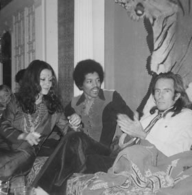 Mati relaxing with Jimi Hendrix and Stella Douglas